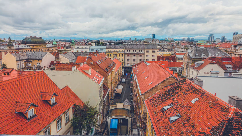 High angle view of Zagreb City Cityscape Cloud Cloudy Croatia Red Roof Tile Zagreb Zagreb, Croatia Architecture Cloud - Sky Clouds And Sky Funicular High Angle View House Red Roof Red Roof Top Red Roofs Roof Tile Sky Town TOWNSCAPE