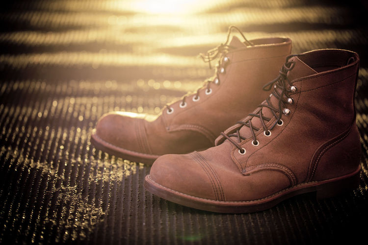 Shoe Pair Shoelace No People Still Life Leather Indoors  Brown Personal Accessory Fashion Absence Selective Focus Compatibility Mat Nature Sunset Sunlight Lace - Fastener Menswear Boots Clothing