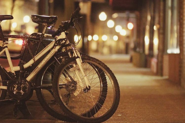 Bicycle Mode Of Transport Night Land Vehicle Stationary Outdoors No People Close-up City Let's Go. Together.