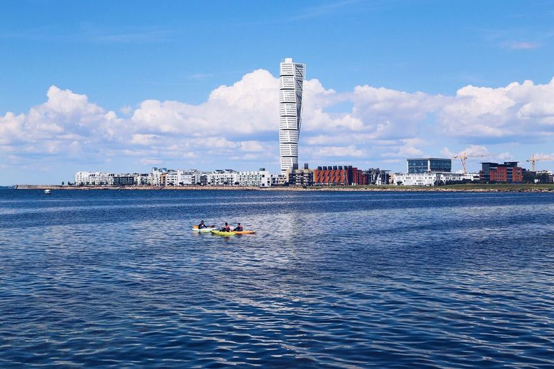 Summer Scandinavia City View  Architecture Sweden Malmö Buildings & Sky Travel Canoeing Paddeling Cayaking Cayak Sea And Sky Blue Sky Summertime Turning Torso Summer Time  Water_collection Waterscape Watersports Water Sports Architecture_collection Blue Sea Coastline Coastal