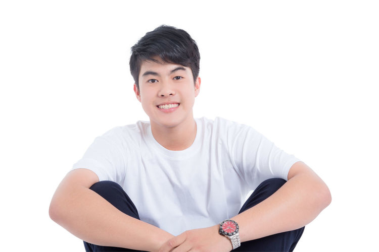 Boy Asian  Thai Sitting White Isolated Background Smile Handsome Teen Teenager Adult Education Student College Man Male Happy Guy