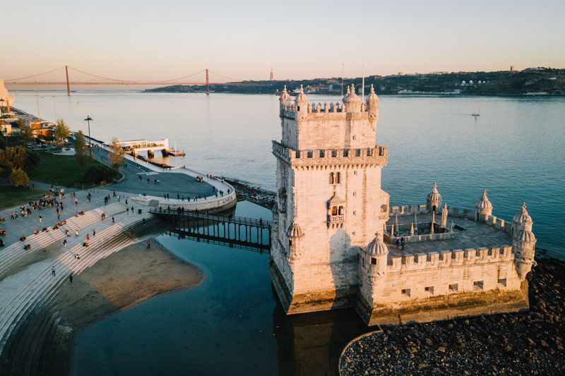 Belém Drone  Torre De Belém Travel Architecture Belem Tower Bridge - Man Made Structure Building Exterior Built Structure City Cityscape Day Drohne Dronephotography Droneshot Harbor High Angle View History Lisboa Lisbon Lissabon Luftaufnahme Nature Nautical Vessel No People Outdoors River Sky Sunset Tourism Transportation Travel Travel Destinations Water