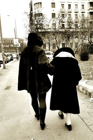 Women Two People Rear View Outdoors Adults Only People Day Warm Clothing Streetphotography Street Photography Streetphoto_bw Blackandwhite Black And White Black & White Kindness Care Old Woman City Life Winter Old And Young Walking Helping Others