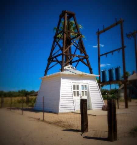 Blue Clear Sky Low Angle View Architecture Built Structure Industry Outdoors Iron - Metal Day Sky Sahuaro Ranch Glendale Arizona Non-urban Scene Enjoying Life Solitude Historic In Front Of Way Out West Western Man Made Object Building Exterior Old-fashioned Town Ranch