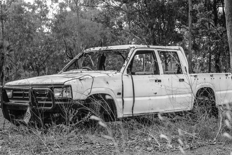 Blackandwhite Destroyed Abandoned Old Car Australia Roadtrip