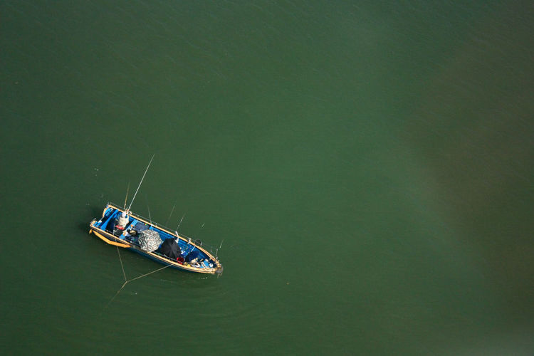 Directly above shot of fishing boat in lake