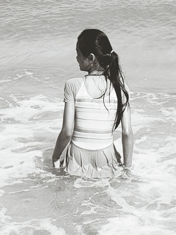 Playing fun One Girl Only Seaside Life Nature Seaside Fun Seaside Beach Beauty In Nature Funtime Seaside View Blackandwhite Photography Outdoor Life Relaxing In The Sun Playinginthewater Seaside Sunset Beautyineverything Sea Life