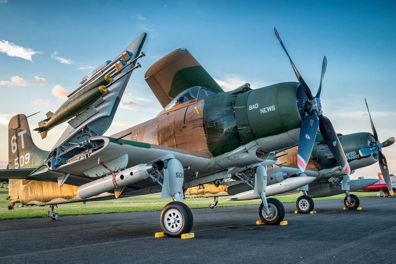 Skyraiders in late afternoon at Oshkosh 2016 A-1 Aircraft Airplane Airventure Attack Bomber Douglas A-1 Fighter Flying Fuji Xpro1 OshKosh Skyraider Vietnam War