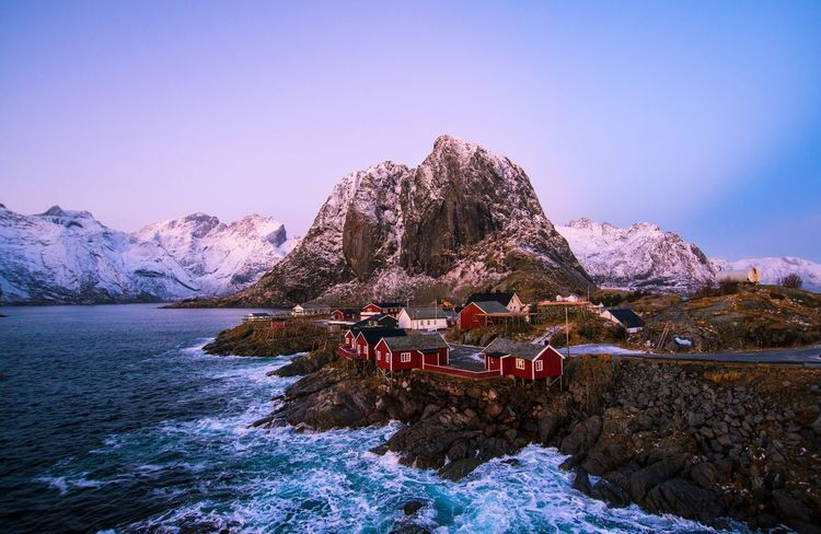 Hamnoy Winter Sunset Astronomy Beauty In Nature Clear Sky Cold Temperature Day Hamnøy Lake Landscape Mountain Mountain Range Nature No People Norway Norway🇳🇴 Outdoors Reine Scenics Sky Snow Sunset Tranquility Water Winter Been There. Shades Of Winter The Traveler - 2018 EyeEm Awards