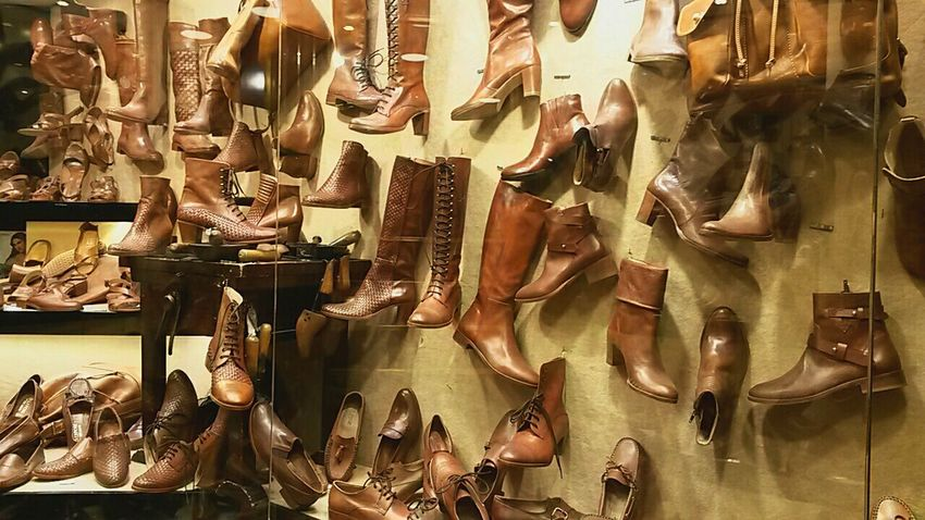 Retail  Hanging Store Large Group Of Objects No People For Sale Indoors  Choice Full Frame Day Shoes Brown Shoes Leather Shoes Shoe Shop Firenze, Italy