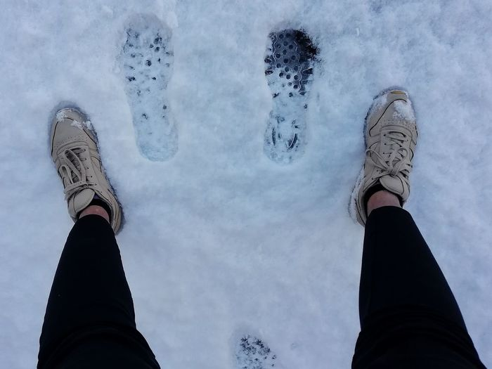 Snow Snow ❄ Prints EyeEm Best Shots Taking Photos Taking Pictures Human Hand Low Section Close-up Sky Human Leg Shoe Slipper  Human Foot Human Feet Wearing Personal Perspective Canvas Shoe Shoelace Flat Shoe Feet