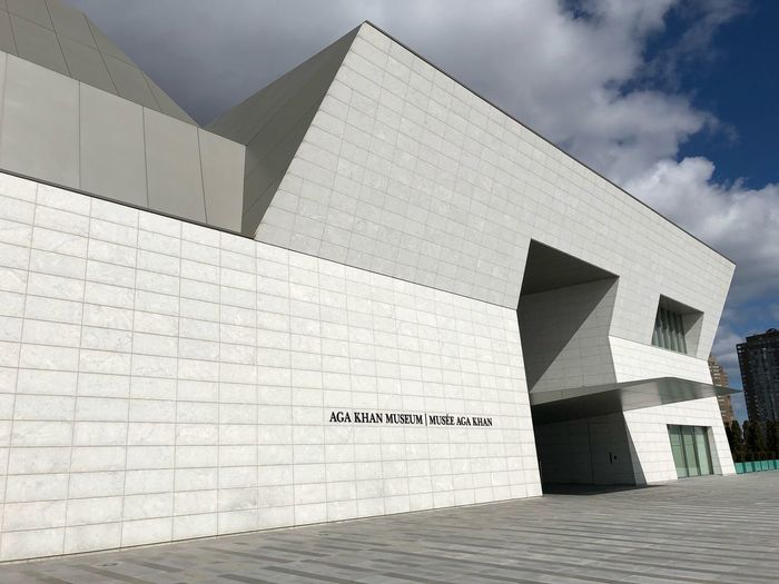 Aga Khan Museum Architecture Built Structure Building Exterior Sky Text Communication Cloud - Sky No People Day Wall - Building Feature
