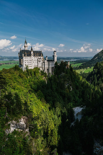 Architecture Beauty In Nature Building Exterior Built Structure Cloud - Sky Day Green Color Growth History Landscape Mountain Nature Neuschwanstein No People Outdoors Plant Sky Tree