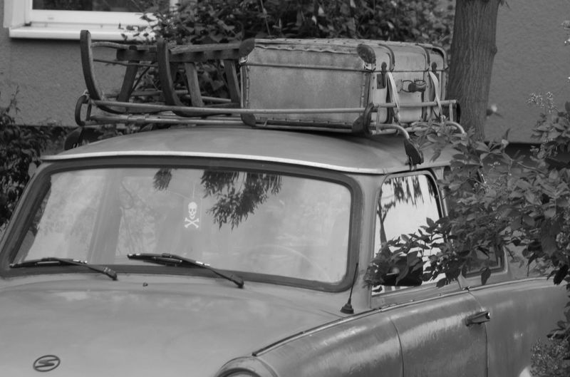 Blackandwhite Car East Germany EyeEmNewHere Historic Luggage No People Old Oldtimer Outdoors Sleigh Trabant Transportation
