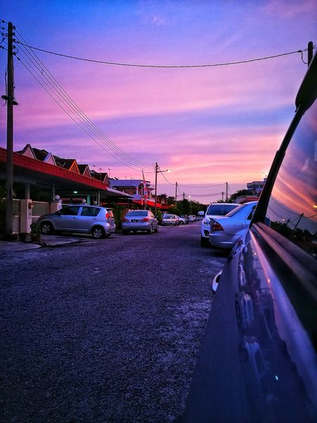 Sunset Car Sky Dusk Transportation No People Outdoors Road Nature Night Nautical Vessel Water City Holiday Freshness Multi Colored Beauty In Nature Beautiful