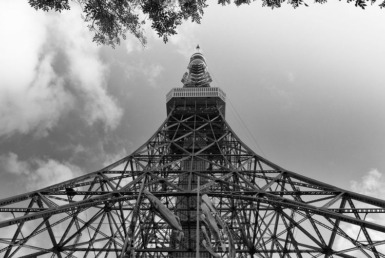 Architecture Black And White Blackandwhite Bnw Built Structure Cloud - Sky Day Low Angle View No People Outdoors Sky Street Photography Streetphotography Structure Tokyo Tokyo Street Photography Tokyo Tower Tourism EyeEm Best Shots Tower Travel Travel Destinations
