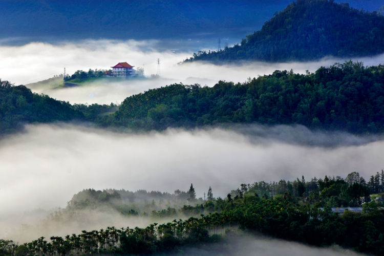 Sky Cloud - Sky Tree Mountain Nature Scenics - Nature Plant Beauty In Nature No People Architecture Day Fog Tranquil Scene Building Exterior Non-urban Scene Tranquility Forest Built Structure Green Color Environment Outdoors