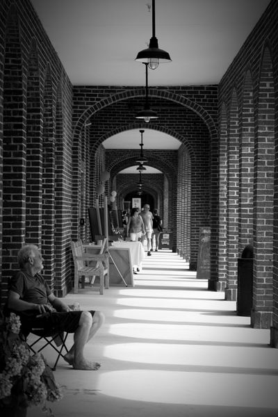 Black & White Black And White Photography At The Art Festival People Photography Arch Brick Arch Bricks Perspective Photography Perspectives