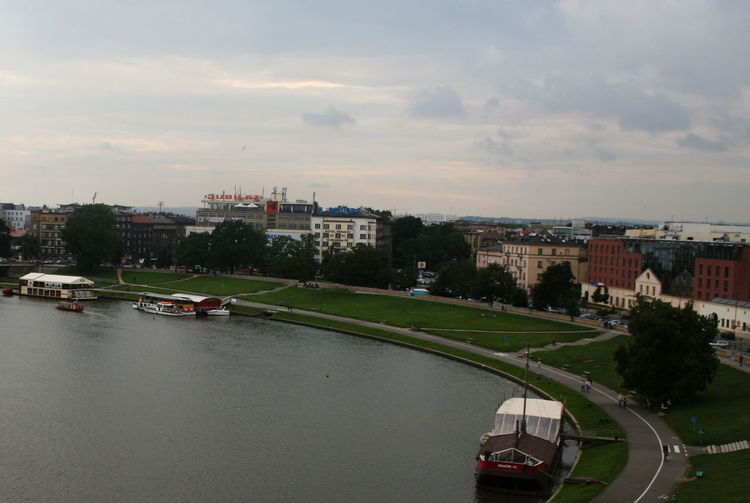 2007 Poland Vistula River Building Exterior City Cityscape Day Krakow No People Outdoors River Road Scows Sky Water