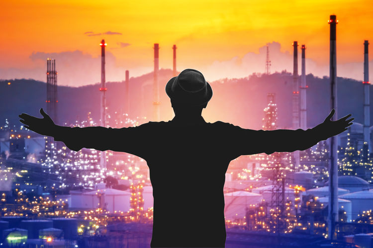 Body & Fitness Happy Vivid Architecture Building Exterior Built Structure Business Concept Businessman Cityscape Freedoom  Hand Illuminated Men Oil Refinery Orange Color Outdoors People Real People Silhouette Sky Success Successful Sunset