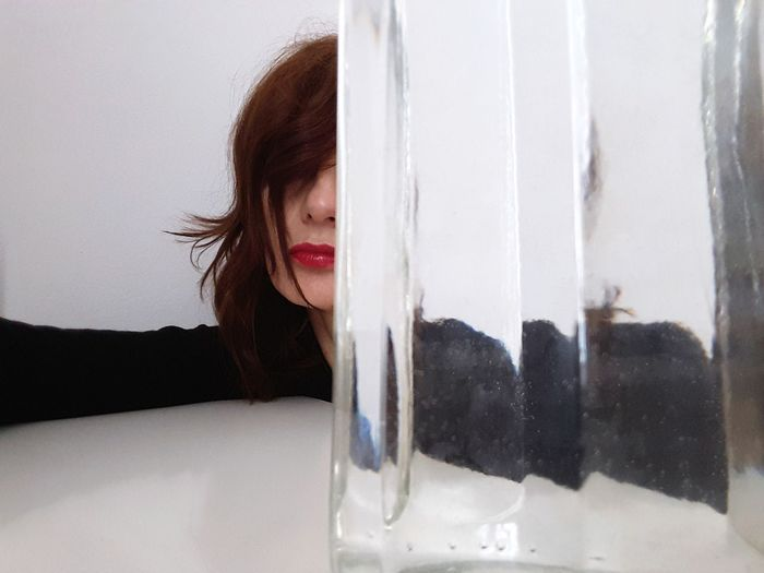 red lips Glass - Material Glass Trasparence Portrait Of A Woman Women Of EyeEm White Color Personal Perspective One Person Young Women Looking Through Window Human Hand Curtain Window Headshot Close-up Pretty Transparent Floating In Water Tangled Hair