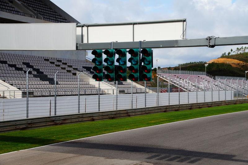Empty motor racing track stadium