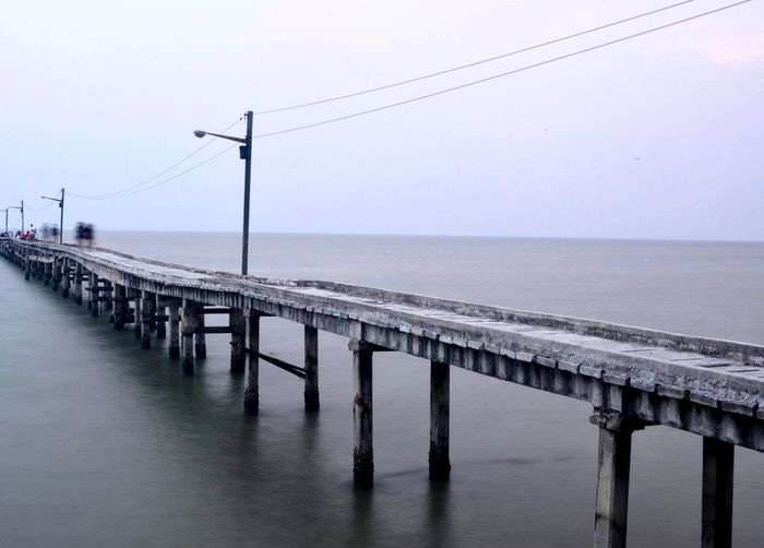 The line perspective view Architectural Column Architecture Beauty In Nature Built Structure Clear Sky Connection Horizon Horizon Over Water Long Nature Outdoors Photographer Photography Scenics - Nature Sea Sky Tranquil Scene Tranquility Water