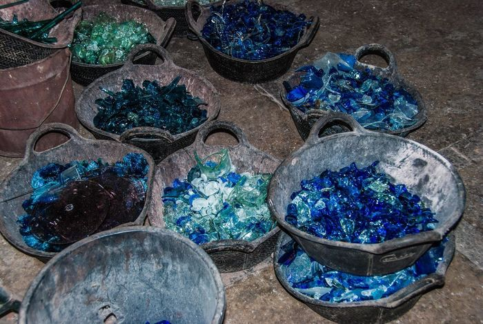 Broken glass in glass blowing factory Broken Glass Abundance Blue Choice Close-up Container Day For Sale Full Frame Glass Glass Factory Glassblowing High Angle View Indoors  Jewelry Large Group Of Objects Market Multi Colored Nature No People Retail  Side By Side Still Life Variation
