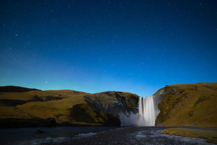 midnight waterfall Beauty In Nature Blue Clear Sky Day Lonely Planet Long Exposure Motion Mountain Nature No People Outdoors Power In Nature River Scenics Sky Tranquil Scene Water Waterfall