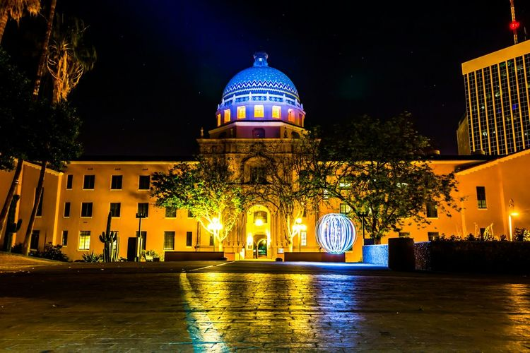 Courthouse Pima County Courthouse Photography Downtown Tucson Nightphotography Langzeitbelichtung Orbs Sphere Light Painting City Of Tucson