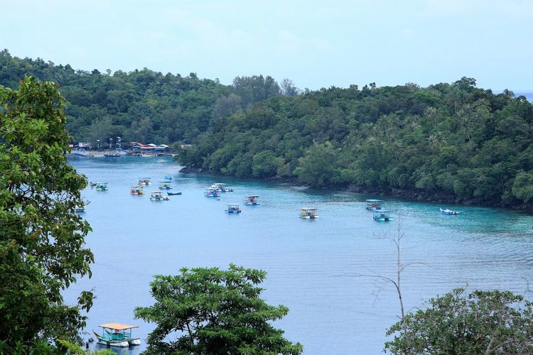 This is Sabang island, Aceh - Indonesia Sabang Beauty In Nature Day Green Color Growth High Angle View Idyllic Island Lake Mode Of Transportation Nature Nautical Vessel No People Outdoors Plant Sabangbeach Sabangisland Scenics - Nature Sky Tranquil Scene Tranquility Transportation Tree Water