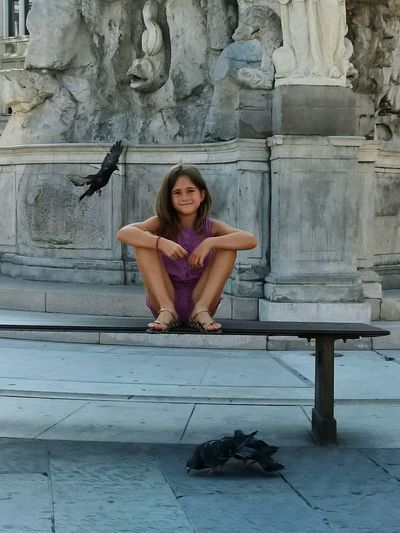 Sitting in Triest with doves Dove Triest Girl People