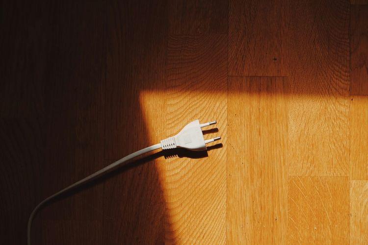Two Pin Plug On Hardwood Floor