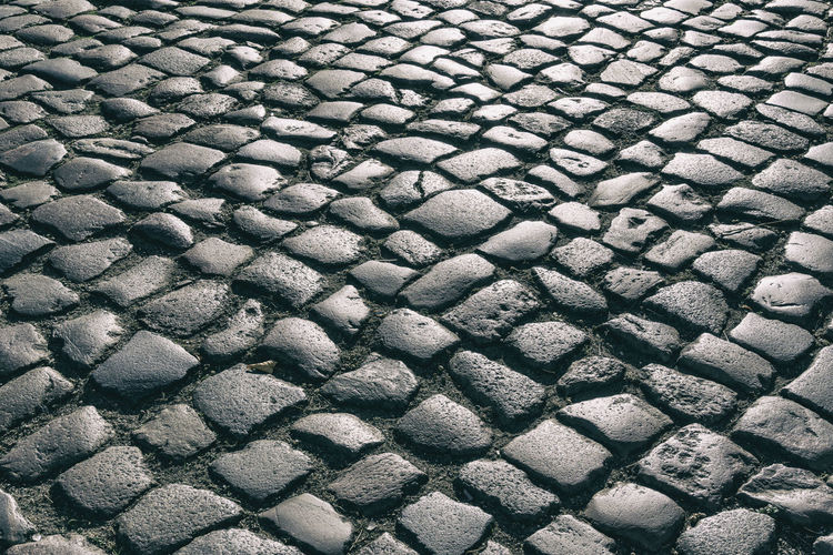 Full Frame Close-Up of Cobblestone Road Berlin Germany 🇩🇪 Deutschland Color Image Horizontal Outdoors No People Full Frame Backgrounds Pattern Textured  High Angle View Day Close-up Cobblestone Repetition Solid Stone Shape Design Gray Stone - Object Transportation Textured Effect Paving Stone Reflection