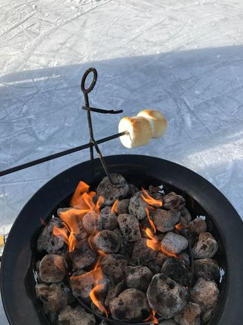 EyeEmNewHere Marshmallow Fire Flame Toasting Marshmallows Campfire Outdoors Food Roasting Man Stickman Lakeside Frozen Lake Family Fun Never Too Old  Perfection