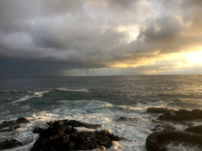 Sky Cloud - Sky Sea Water Scenics - Nature Horizon Beauty In Nature Horizon Over Water Sunset Tranquility Tranquil Scene Beach Nature Land No People Overcast Idyllic Storm Outdoors