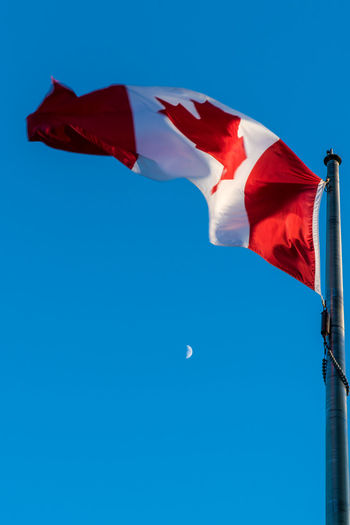 O Canada 18-105mm Canadian Canadian Flag Moon Sony A6300 Blue Blue Background Canada Clear Sky Copy Space Day Environment Flag Flying Iamcanadian Leaf Low Angle View Maple Leaf Moon Motion National Icon Nature No People Outdoors Patriotism Pole Red Red And White Sky Waving Wind