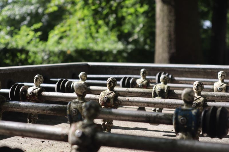 Close-up of old foosball