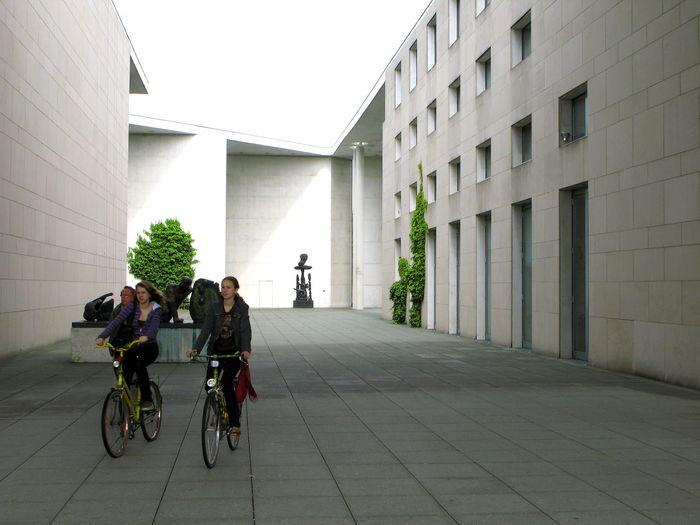 Art Museum Art Museum, Bonn Bonn Art Museum Courtyard  Cyclists Dooryard Girls Outdoors People Real People Visitors Women Yard