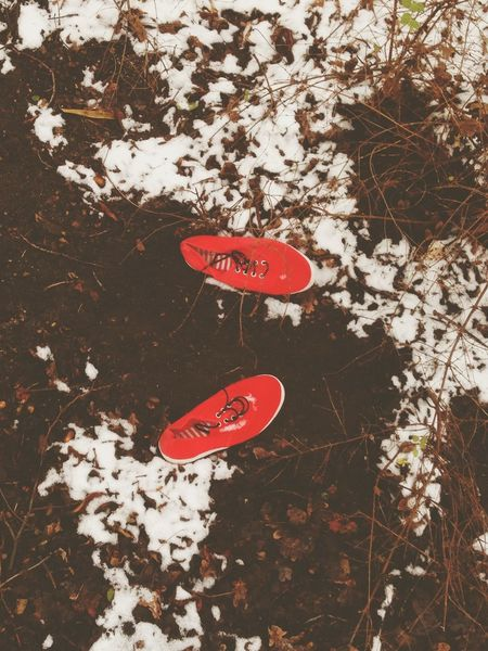 Red Shoes Snow Taking Photos Walking Around