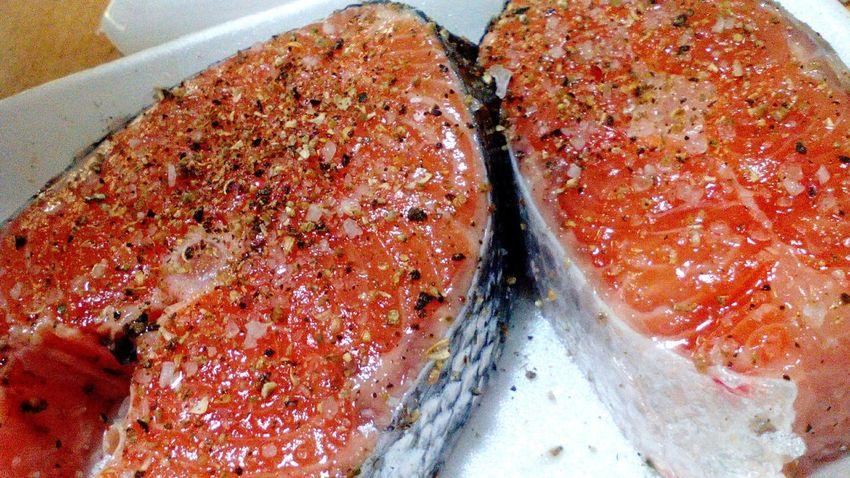 MyPhotography SalmonLove Enjoying Life Foodporn Foodlovers Salmonsteak Lovely Salmon with salt and pepper. Beautiful.