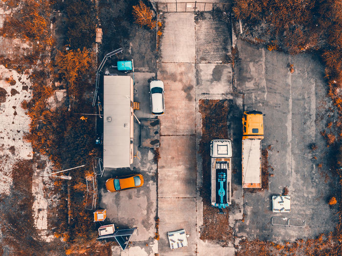 Directly above shot of cars and truck on road
