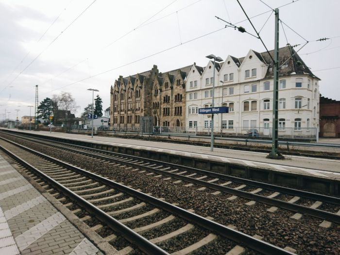 Railroad Track Transportation Rail Transportation Building Exterior Railroad Station Day Outdoors Train - Vehicle No People Karlsruhe Nature Blue Flower Built Structure Architecture Sky