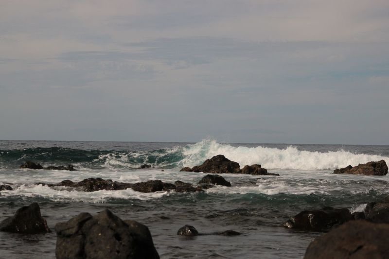 Mar de Buenavista Sea Water Rock Rock - Object Solid Beach Land Beauty In Nature Sky Nature Wave Scenics - Nature Motion Horizon Horizon Over Water No People Cloud - Sky Outdoors Rock Formation Breaking