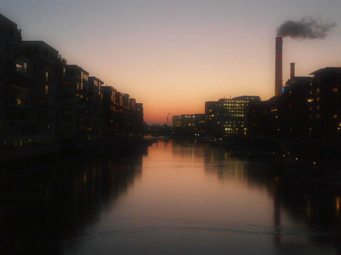 Sunset in Westhafen, an office and residential area by the river Main in Frankfurt am Main, Germany. Architecture Building Exterior Built Structure Cityscape Frankfurt Am Main Germany Illuminated MyCity❤️ River Main Sunset Sunset Silhouettes Water Reflections Waterfront Westhafen The City Light