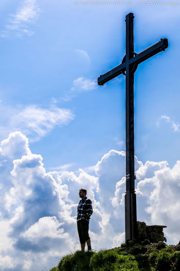 Impression belief Cloud - Sky Sky One Person Nature Real People Standing Cross Religion Belief Spirituality Men Day Lifestyles Leisure Activity Casual Clothing Full Length Outdoors Low Angle View Hochgrat Bavarian Landscape Bavaria Oberstaufen Home Homelove Jesus