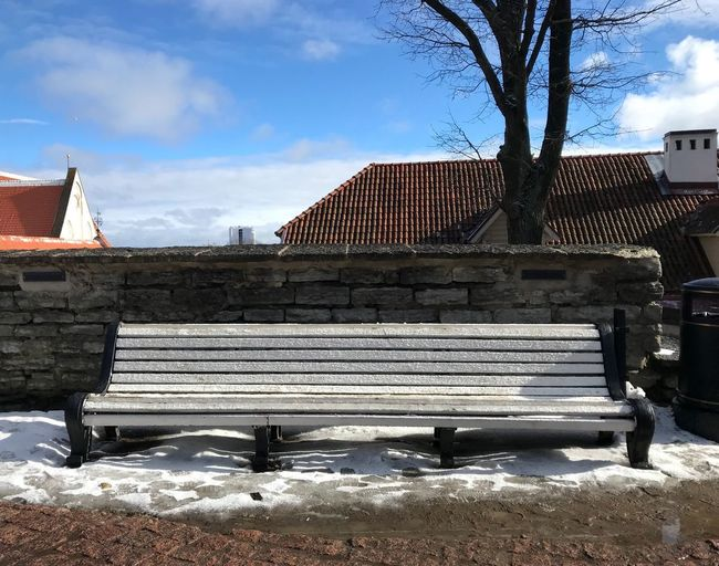 Baltic Countries Tallinn Estonia Tallinn Old Town Tallinn Estonia Architecture Built Structure Building Exterior Sky Cloud - Sky Nature Day Outdoors Snow Cold Temperature No People Sunlight Winter Plant Building Seat Tree Bench City