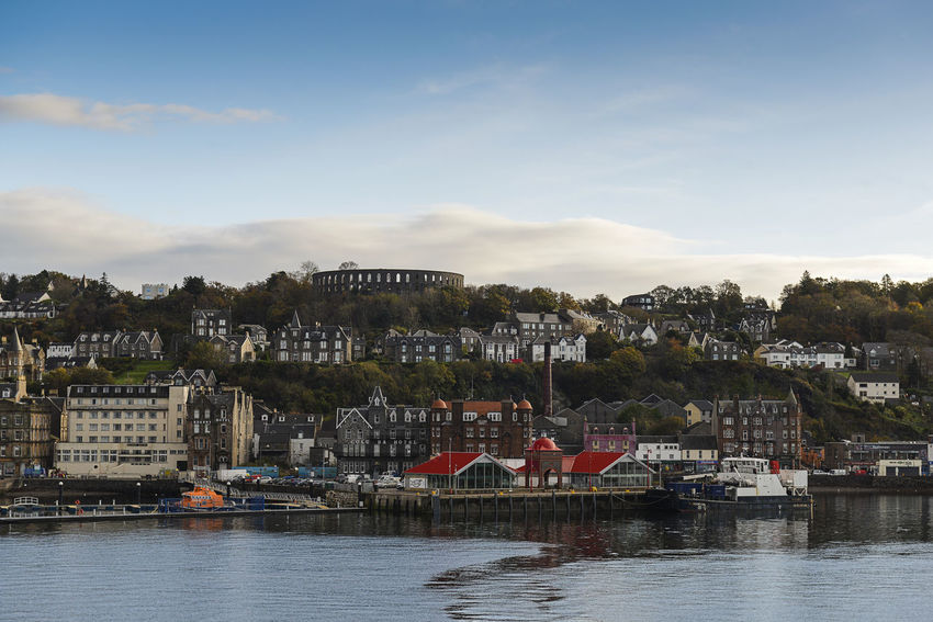 Oban From Sea City Ferry Ferry Crossing Oban From Sea Oban, Argyll, Scotland Scotland Highlands Scotland 💕 TOWNSCAPE Trees Boat Buildings Buildings & Sky Mccaig's Tower Seafront Seafront Houses Seafront View Ships⚓️⛵️🚢 Town Vessel Vessel In Port