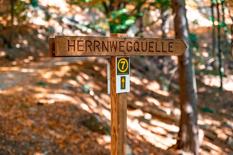 Information sign on wood