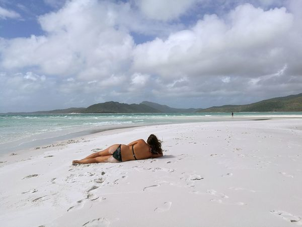 Beauty In Nature Sand Beach Vacations Young Women Bikini Tranquil Scene Day Outdoors Nature Whitsunday Islands Whitsundays Whitsundayislands Whiteheaven Tranquility Only Women